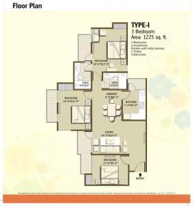 panchsheel hynish floor plan 3bhk 2toilet 1225 sqft