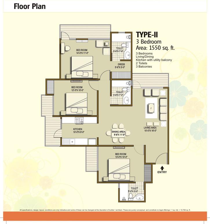 panchsheel hynish floor plan 3bhk 2toilet 1550 sqft