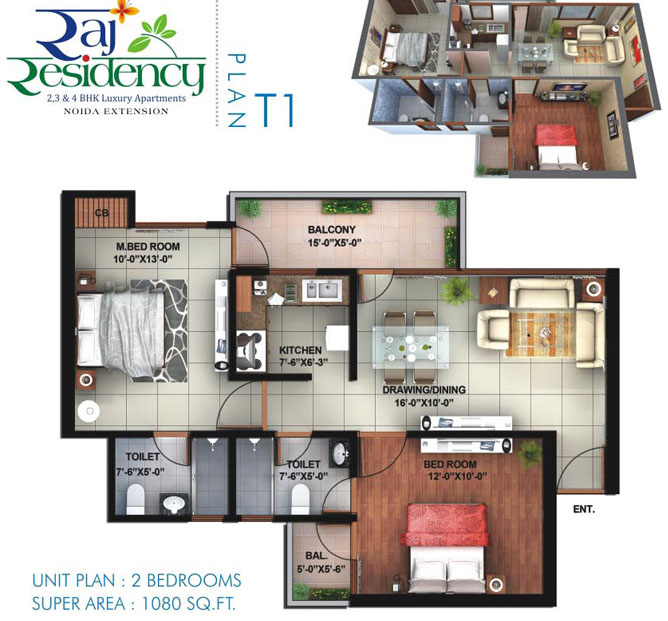 raj residency floor plan 2bhk 2toilet 1080 sqft