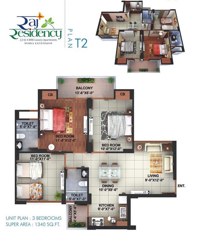 raj residency floor plan 3bhk 2toilet 1340 sqft
