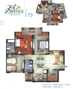 raj residency floor plan 3bhk 2toilet 1398 sqft