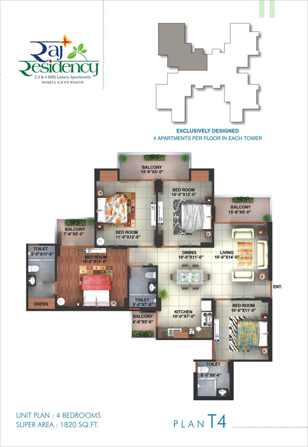 raj residency floor plan 4bhk 3toilet 1820 sqft
