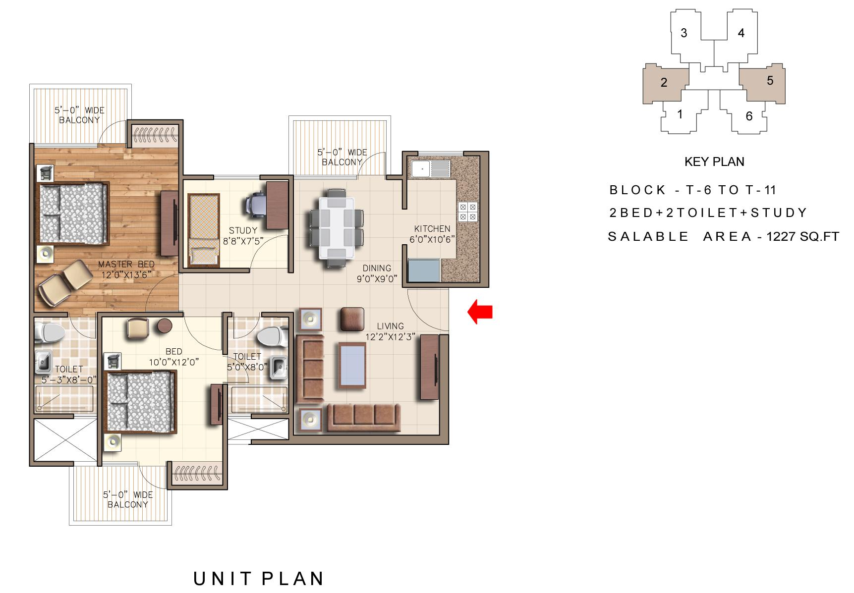 rudra aqua casa floor plan 2bhk 2toilet 1227 sqft