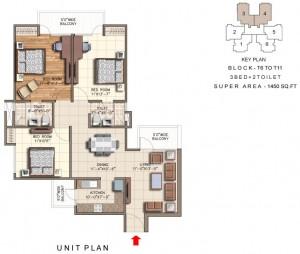 rudra aqua casa floor plan 3bhk 2toilet 1450 sqft