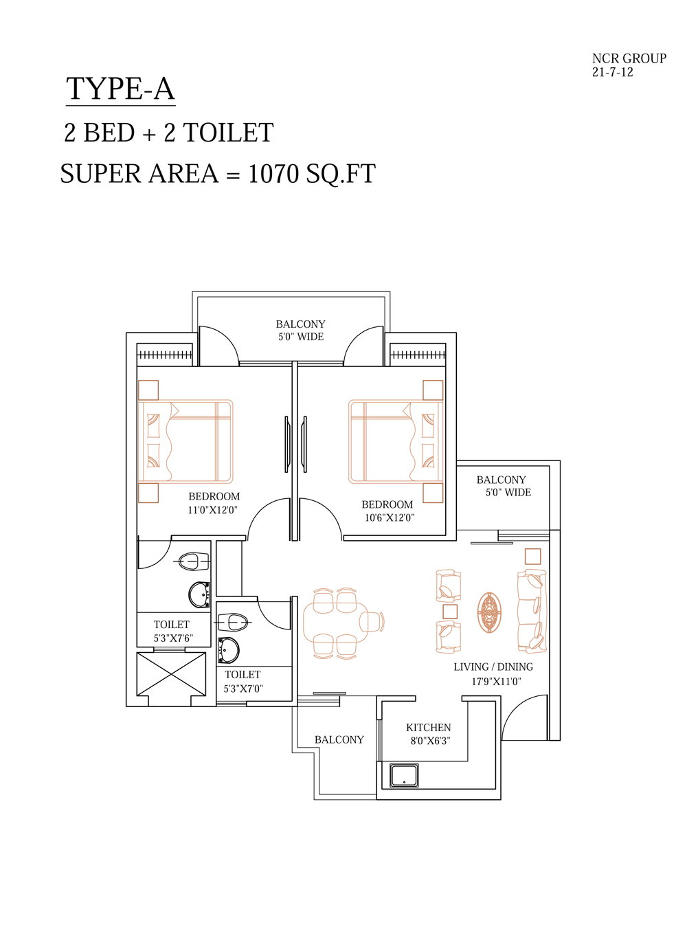 shubhkamna monarch floor plan 2bhk 2toilet 1070 sqft