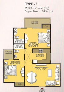 vvip homes floor plan 2bhk 2toilet 1045 sqft