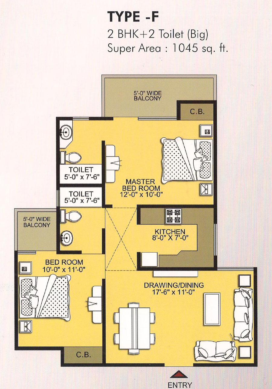 vvip homes floor plan 2bhk 2toilet 1045 sqft
