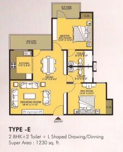 vvip homes floor plan 2bhk 2toilet 1230 sqft