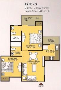 vvip homes floor plan 2bhk 2toilet 935 sqft