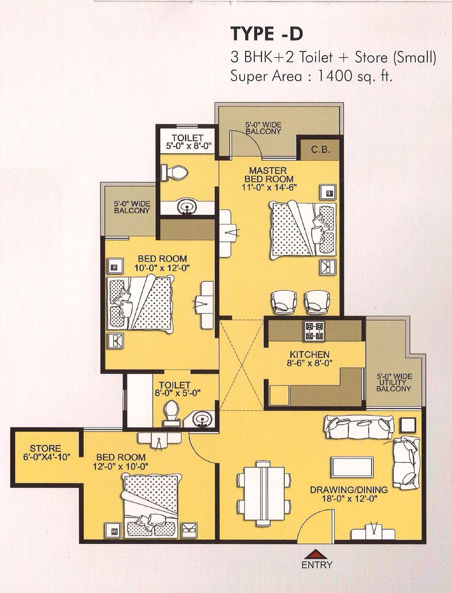 vvip homes floor plan 3bhk 2toilet 1400 sqft (2)
