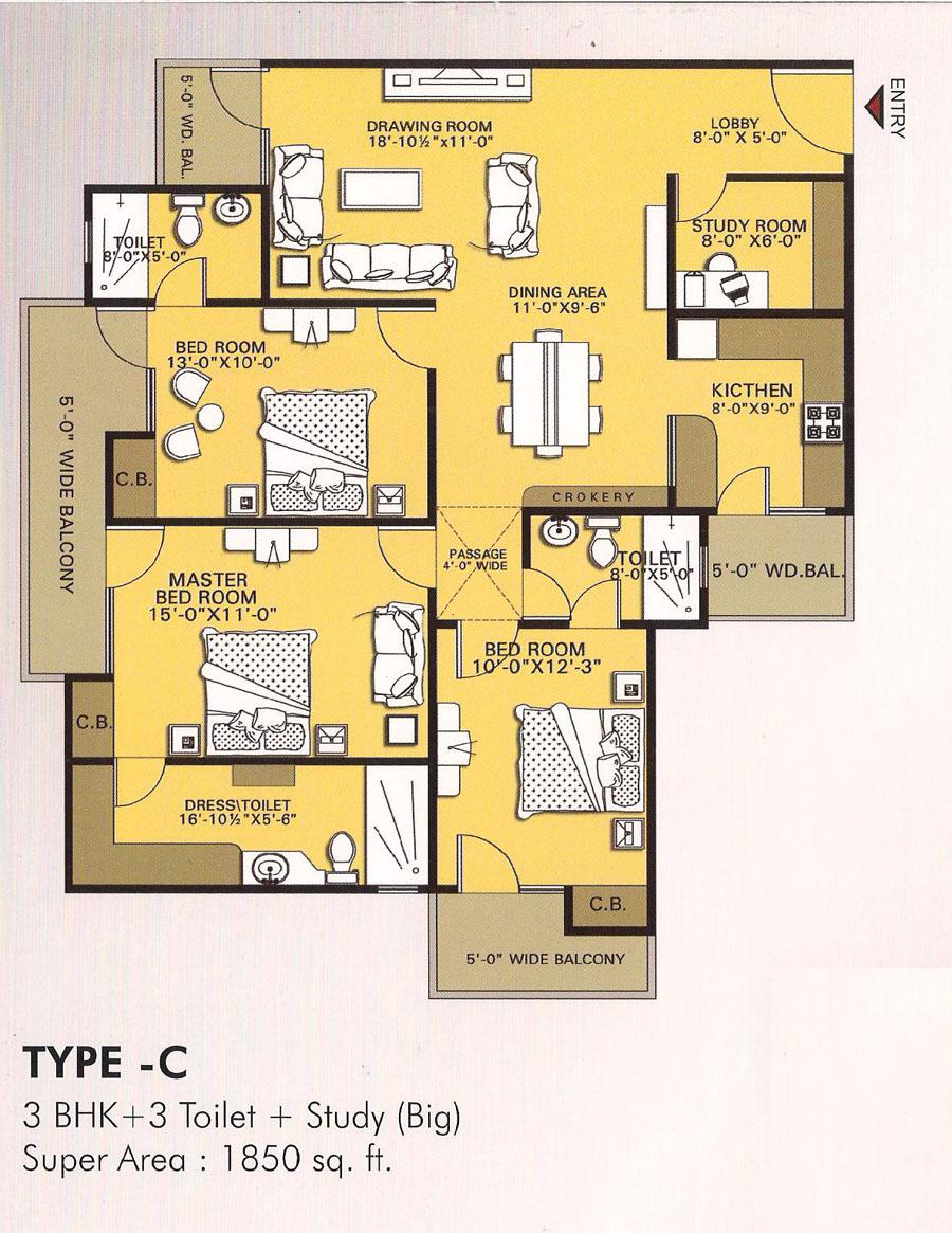 vvip homes floor plan 3bhk 3toilet 1850 sqft