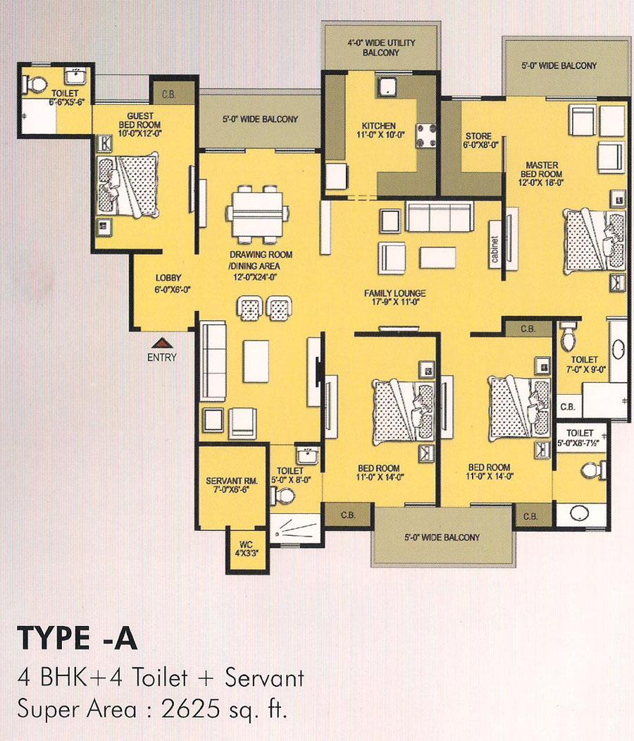 vvip homes floor plan 4bhk 4toilet 2624 sqft