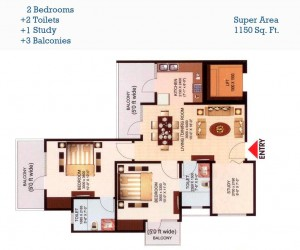 aims golf town floor plan 2bhk 2toilet 1150 sqft