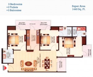 aims golf town floor plan 3bhk 3toilet 1440 sqft