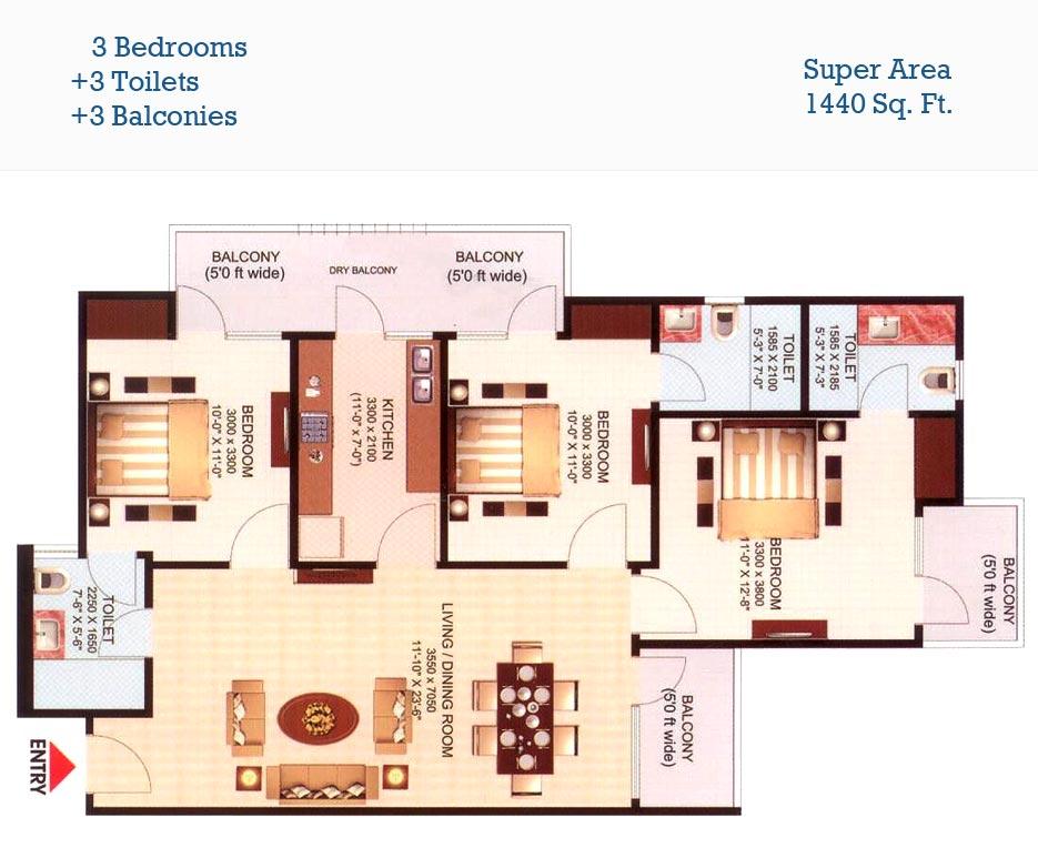 aims golf town floor plan 3bhk 3toilet 1440 sqft