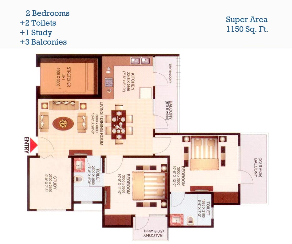 aims golf town floor plan bhk2,2toilet 1150 sqft