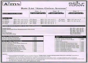 aims golf town price list