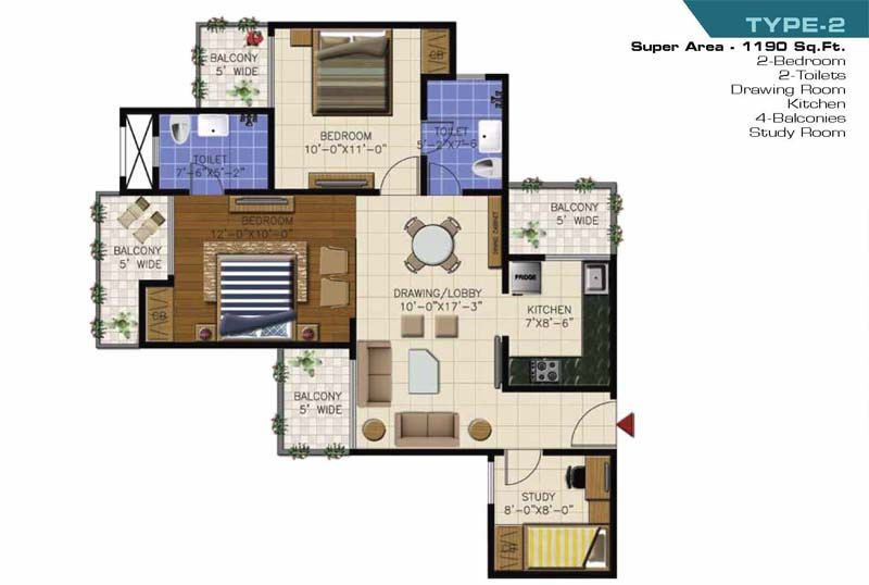 ncr olympia floor plan 2bhk 2toilet 1190 sqft