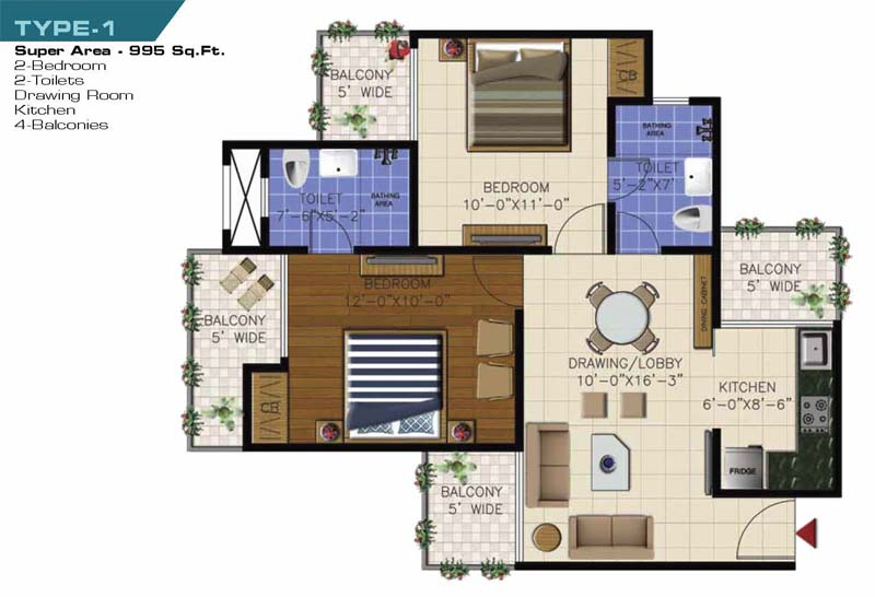 ncr olympia floor plan 2bhk 2toilet 995 sqft