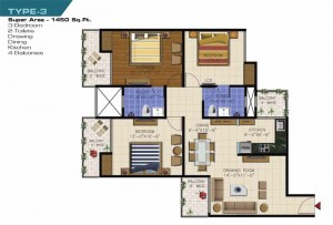 ncr olympia floor plan 3bhk 2toilet 1450 sqft