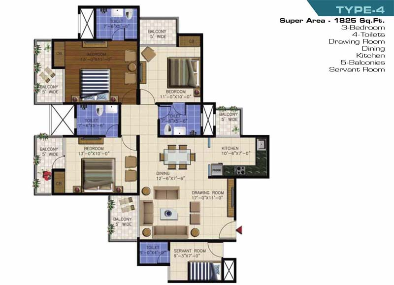 ncr olympia floor plan 3bhk 4toilet 1825 sqft
