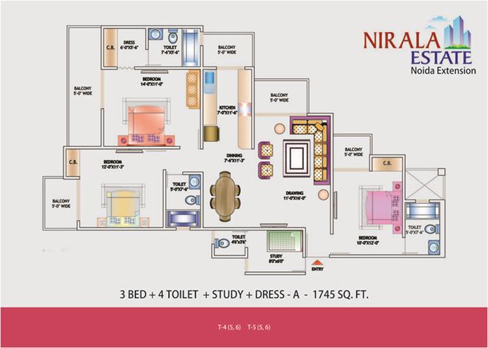 niral estate floor plan 3bhk 4 toilet 1745 sqft