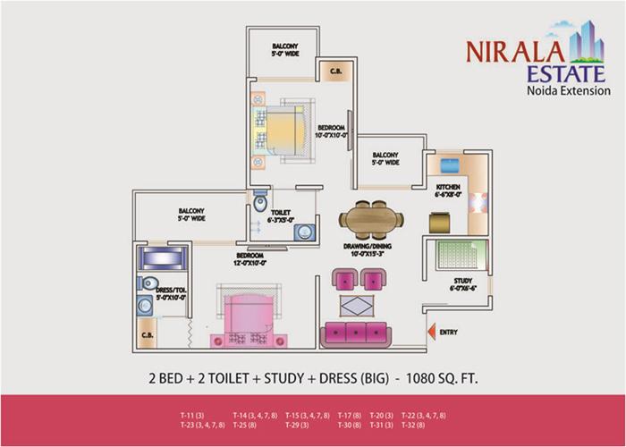 nirala estate floor plan 2bhk 2toilet 1080 sqft