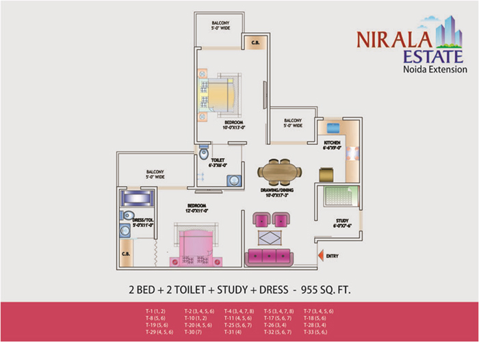 nirala estate floor plan 2bhk 2toilet 955 sqft