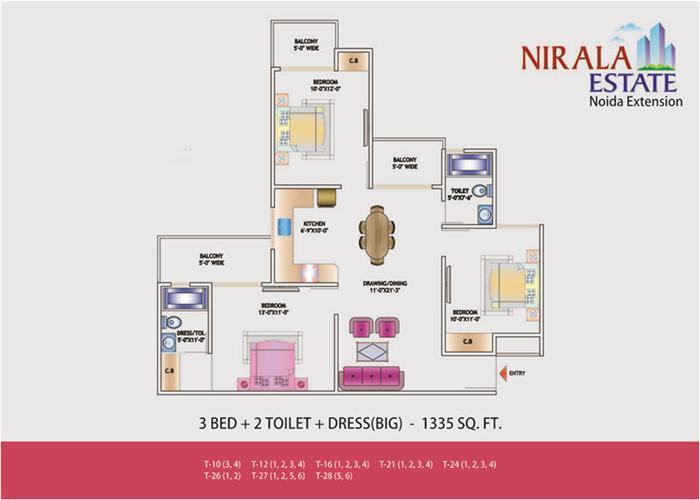 nirala estate floor plan 3bhk 2atoilet 1335 sqft
