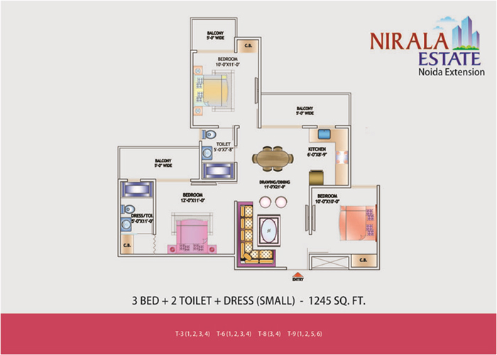 nirala estate floor plan 3bhk 2toilet 1245 sqft