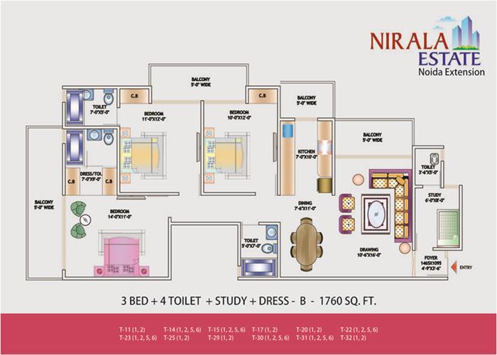 nirala estate floor plan 3bhk 4toilet 1760 sqft