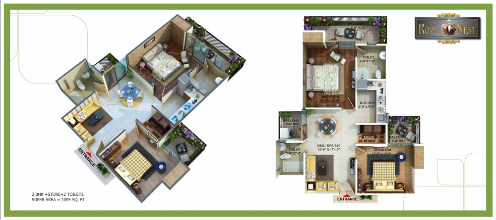 royal nest floor plan 2bhk 2toilet 1095 sqft