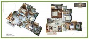 royal nest floor plan 3bhk 2toilet 1380 sqft