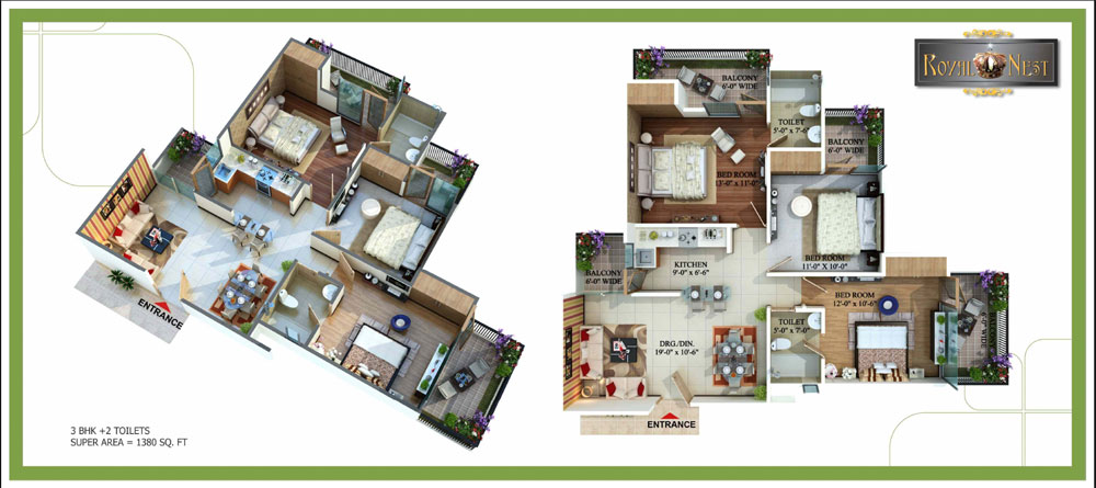 royal nest floor plan 3bhk 2toilet 1380 sqft