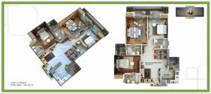 royal nest floor plan 3bhk 3toilet 1515 sqft