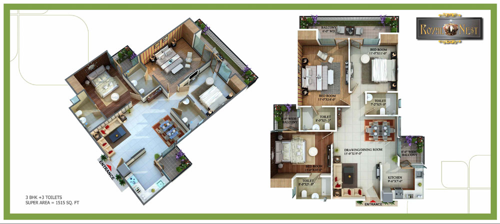 royal nest floor plan 3bhk 3toilet 1515 sqft