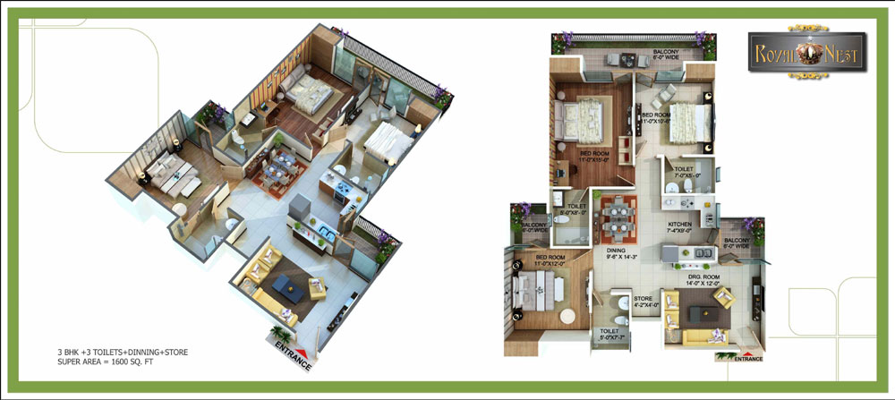 royal nest floor plan 3bhk 3toilet 1600 sqft