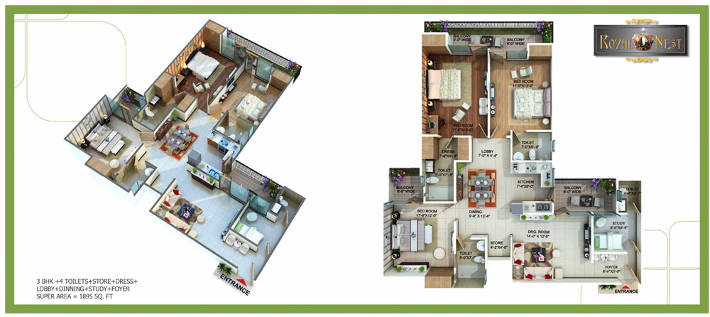 royal nest floor plan 3bhk 4toilet 1895 sqft