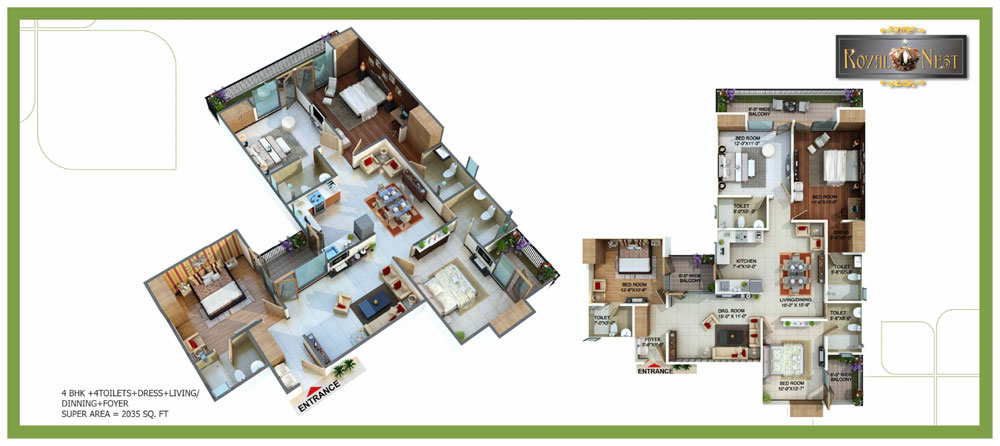 royal nest floor plan 4bhk 4toilet 2035 sqft