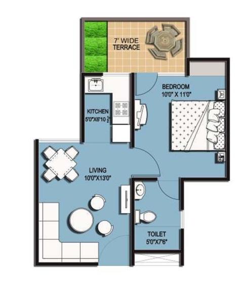 amrapali hanging garden floor plan 1BHK 1Toilet