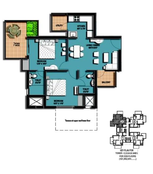 amrapali hanging garden floor plan 2 BHK 2 Toilet