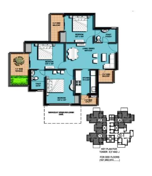amrapali hanging garden floor plan 3 BHK 2 Toilet (3)
