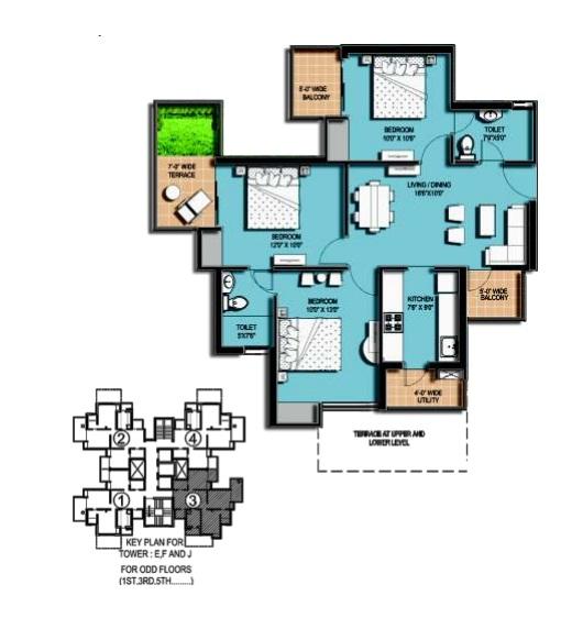 amrapali hanging garden floor plan 3 BHK 2 Toilet