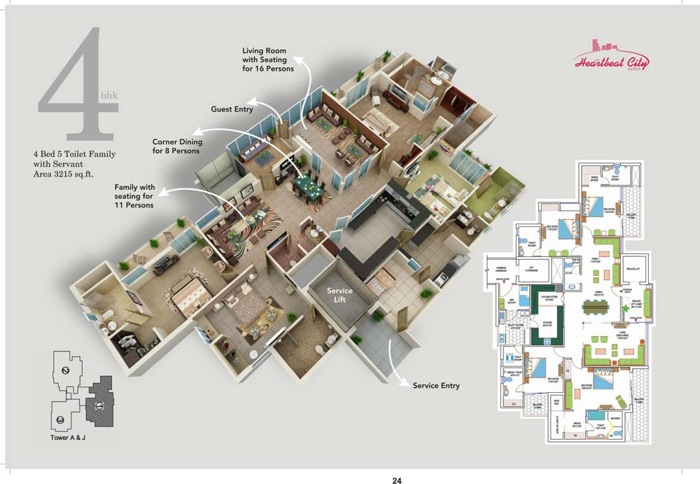 amrapali heart beat city floor plan 3BR 4Toilet 3215 sqft