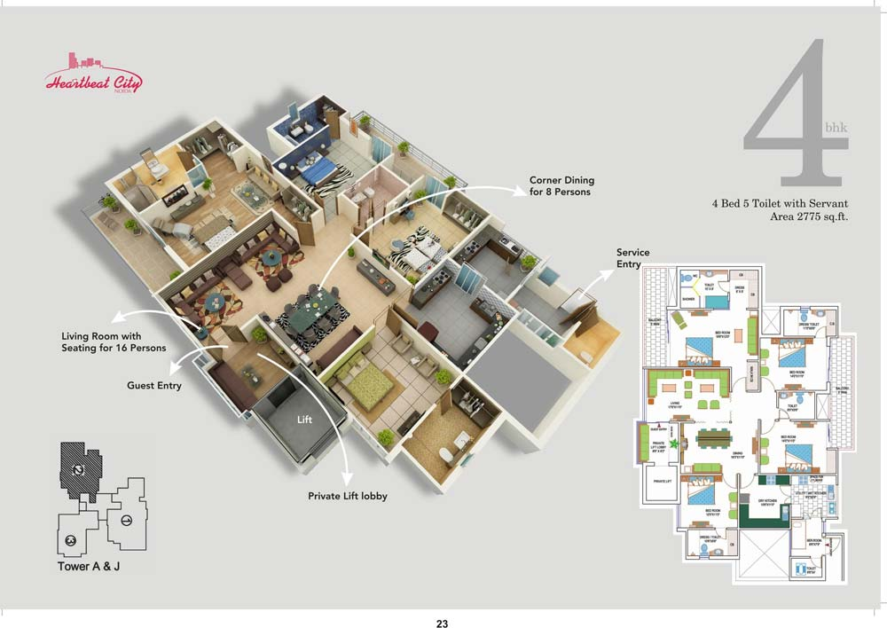 amrapali heart beat city floor plan. 4BR 4Toilet 2775 sqft