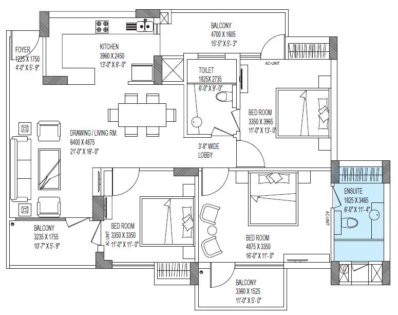 celo county floor plant 3 BHK 2 Toilet 1620 sqft