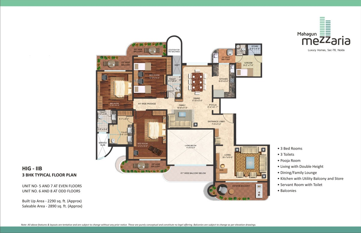 mahagun mezzaria floor plan 3 BHK 2890sqft