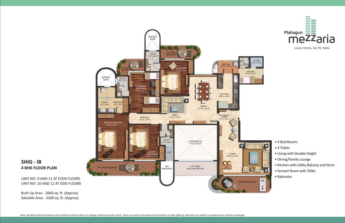 mahagun mezzaria floor plan 4 BHK 3260sqft
