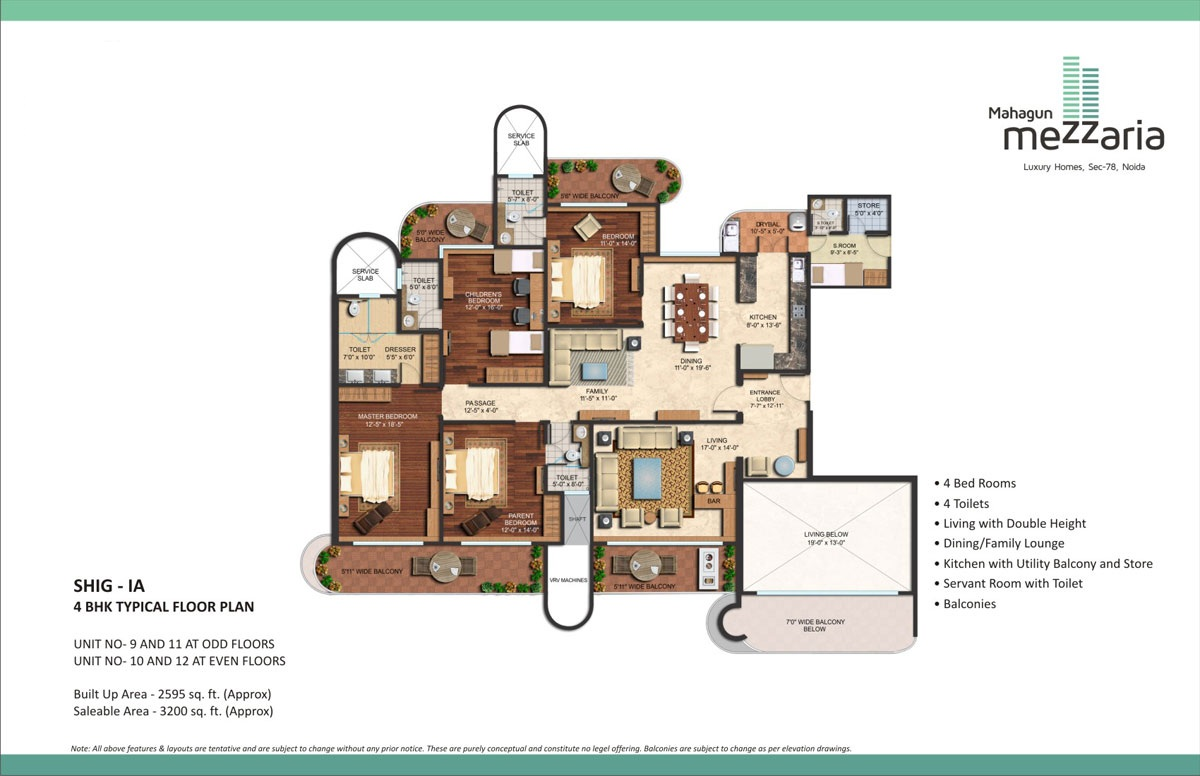 mahagun mezzaria floor plan4 BHK 3200sqft