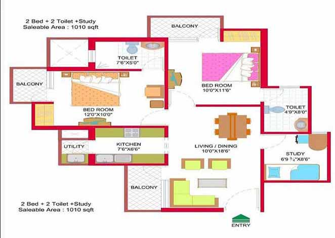 nimbus hyde park floor plan 2 BHK 1010 Sq ft